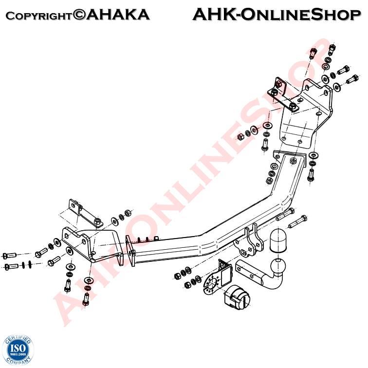 Anhängerkupplung starr 807 E Bosal E-Satz 7pol universell inkl EBA AHK /& ES